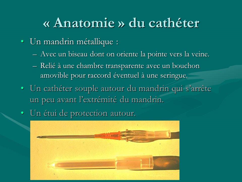 « Anatomie » du cathéter Un mandrin métallique :Un mandrin métallique : –Avec un biseau dont on oriente la pointe vers la veine. –Relié à une chambre