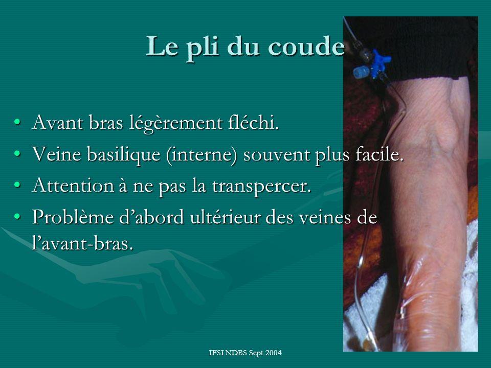 IFSI NDBS Sept 2004 Le pli du coude Avant bras légèrement fléchi.Avant bras légèrement fléchi. Veine basilique (interne) souvent plus facile.Veine bas