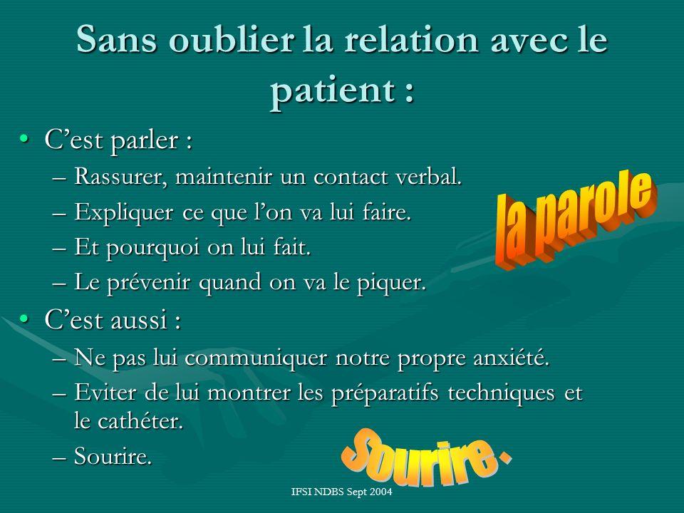 IFSI NDBS Sept 2004 Sans oublier la relation avec le patient : Cest parler :Cest parler : –Rassurer, maintenir un contact verbal. –Expliquer ce que lo