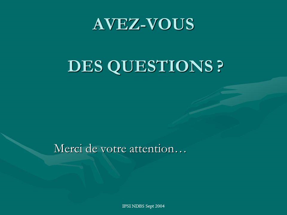 IFSI NDBS Sept 2004 AVEZ-VOUS DES QUESTIONS ? Merci de votre attention…