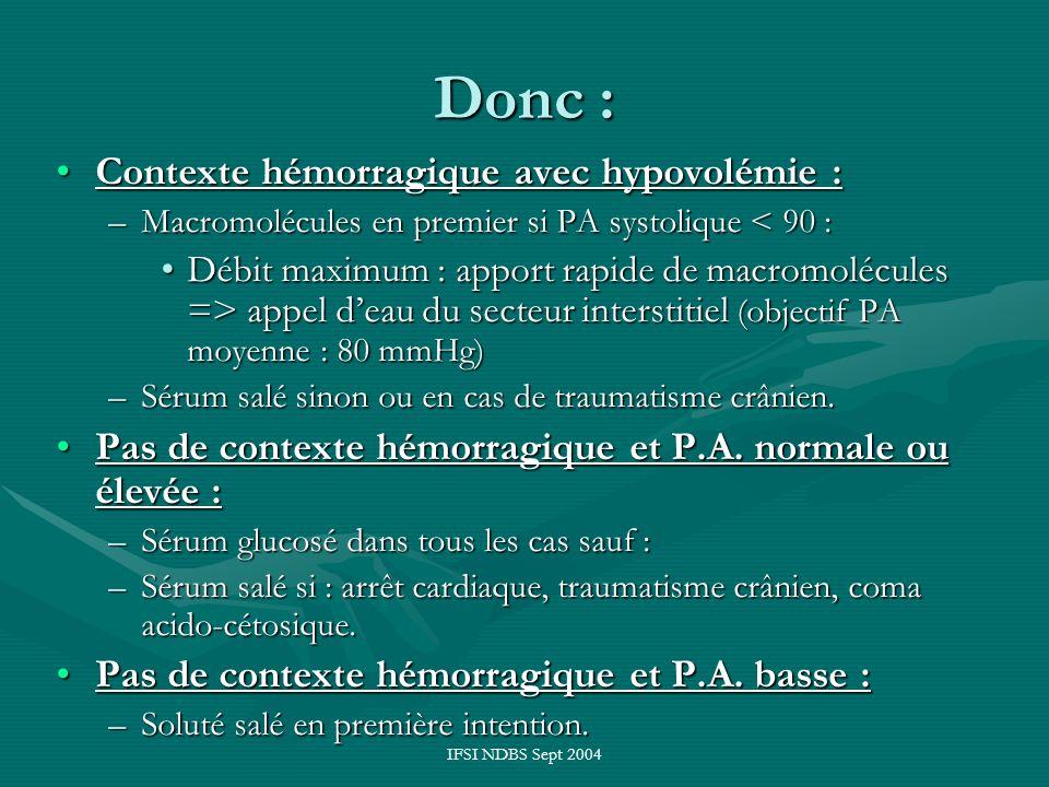 IFSI NDBS Sept 2004 Donc : trois produits nécessaires : 1 flacon de macromolécules : 1 flacon de macromolécules : –Hestéril* ou elohès* 1 soluté glucosé isotonique :1 soluté glucosé isotonique : –Sérum glucosé à 5 (ou 10 %) –Et quelques ampoules de G 30% 1 soluté cristalloïde isotonique :1 soluté cristalloïde isotonique : –Sérum salé isotonique à 9 g/1000 –Ou Ringer lactate.