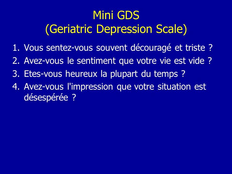 Mini GDS (Geriatric Depression Scale) 1.Vous sentez-vous souvent découragé et triste ? 2.Avez-vous le sentiment que votre vie est vide ? 3.Etes-vous h