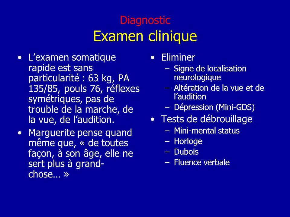 Diagnostic Examen clinique Lexamen somatique rapide est sans particularité : 63 kg, PA 135/85, pouls 76, réflexes symétriques, pas de trouble de la ma