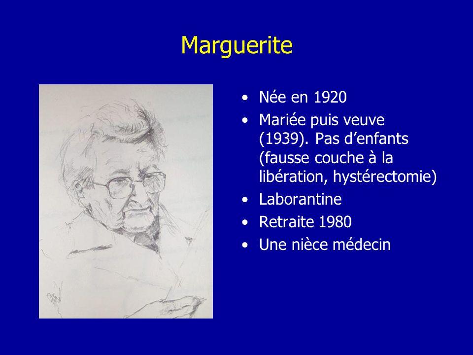Marguerite Née en 1920 Mariée puis veuve (1939). Pas denfants (fausse couche à la libération, hystérectomie) Laborantine Retraite 1980 Une nièce médec