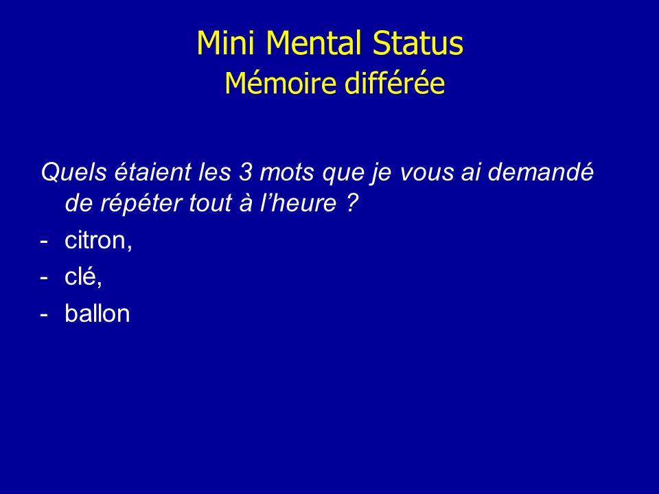 Mini Mental Status Mémoire différée Quels étaient les 3 mots que je vous ai demandé de répéter tout à lheure ? -citron, -clé, -ballon