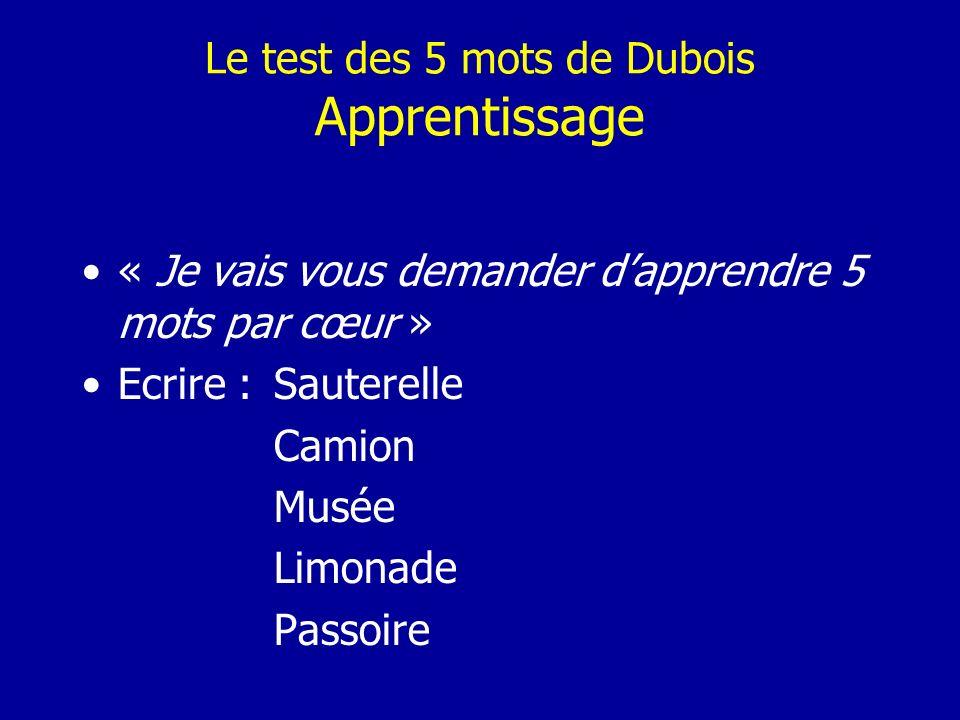 Le test des 5 mots de Dubois Apprentissage « Je vais vous demander dapprendre 5 mots par cœur » Ecrire :Sauterelle Camion Musée Limonade Passoire