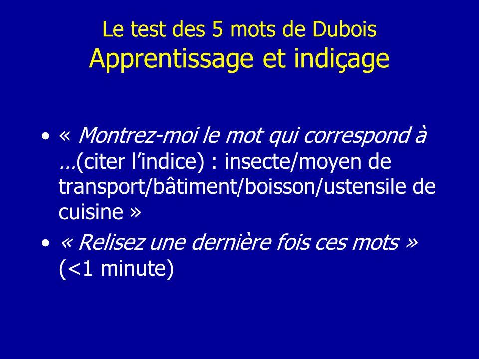 Le test des 5 mots de Dubois Apprentissage et indiçage « Montrez-moi le mot qui correspond à …(citer lindice) : insecte/moyen de transport/bâtiment/bo