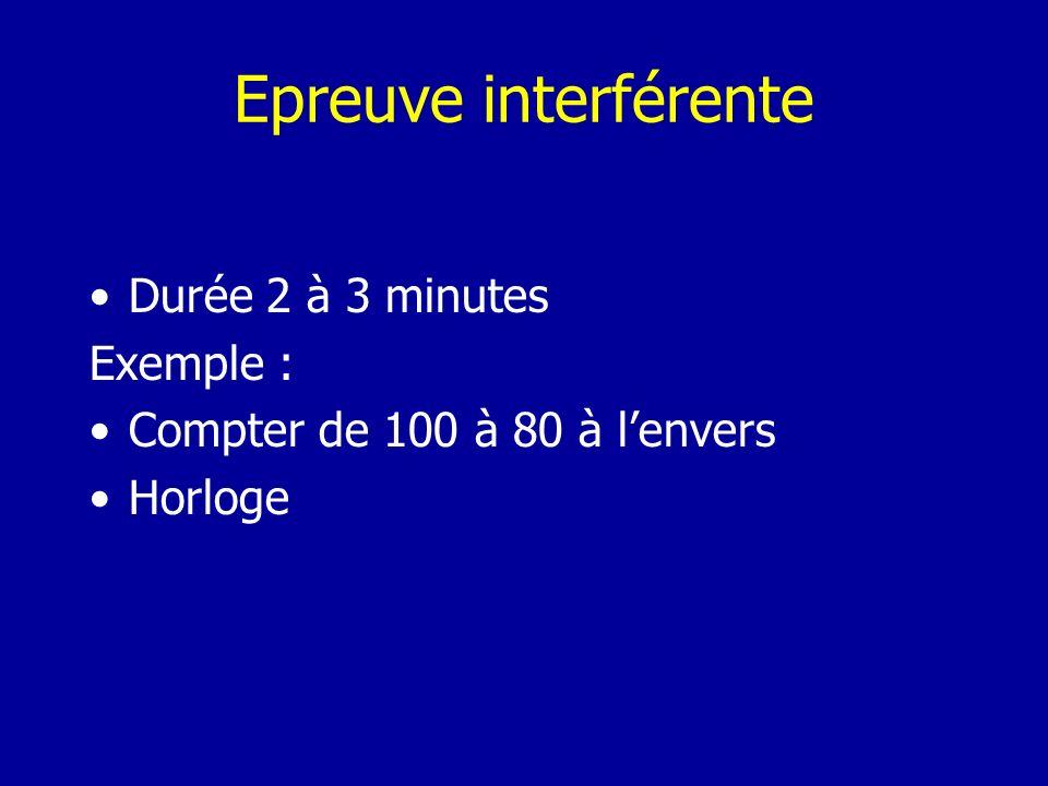 Epreuve interférente Durée 2 à 3 minutes Exemple : Compter de 100 à 80 à lenvers Horloge