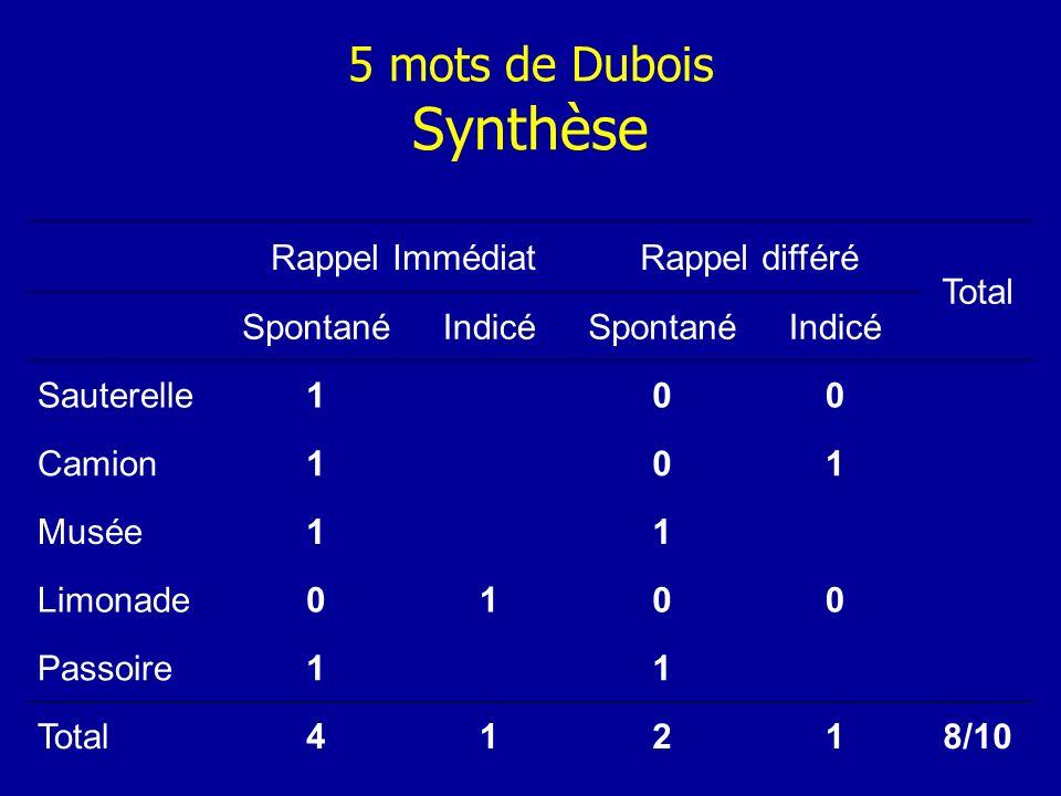 5 mots de Dubois Synthèse Rappel ImmédiatRappel différé Total SpontanéIndicéSpontanéIndicé Sauterelle100 Camion101 Musée11 Limonade0100 Passoire11 Tot