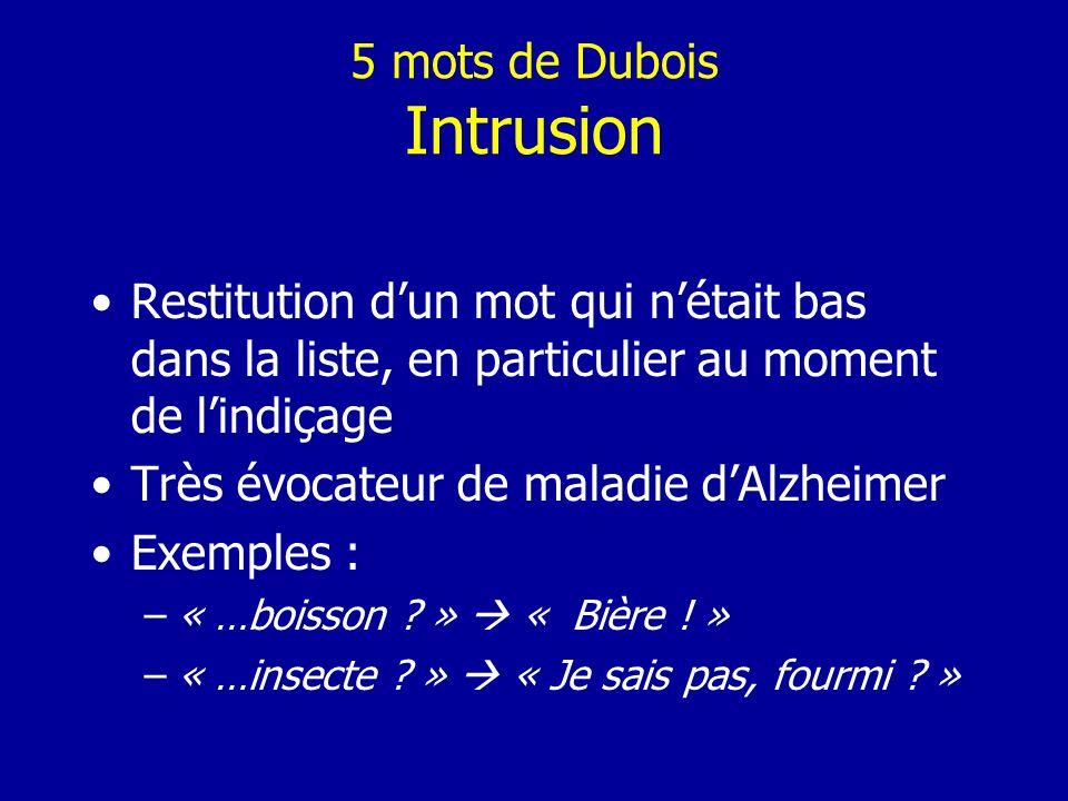 5 mots de Dubois Intrusion Restitution dun mot qui nétait bas dans la liste, en particulier au moment de lindiçage Très évocateur de maladie dAlzheime