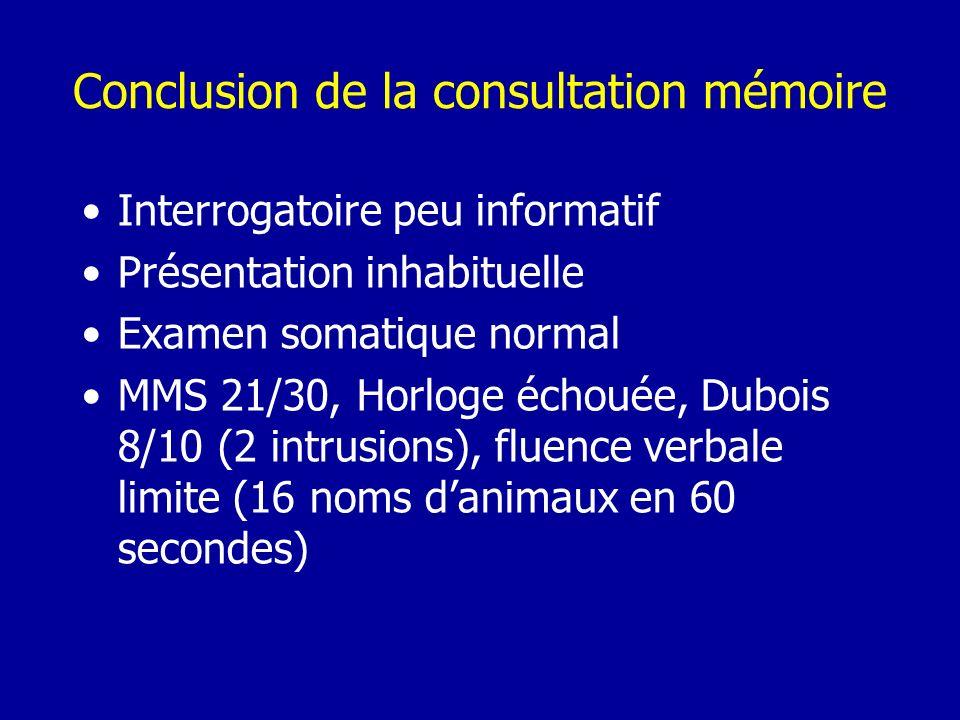 Conclusion de la consultation mémoire Interrogatoire peu informatif Présentation inhabituelle Examen somatique normal MMS 21/30, Horloge échouée, Dubo
