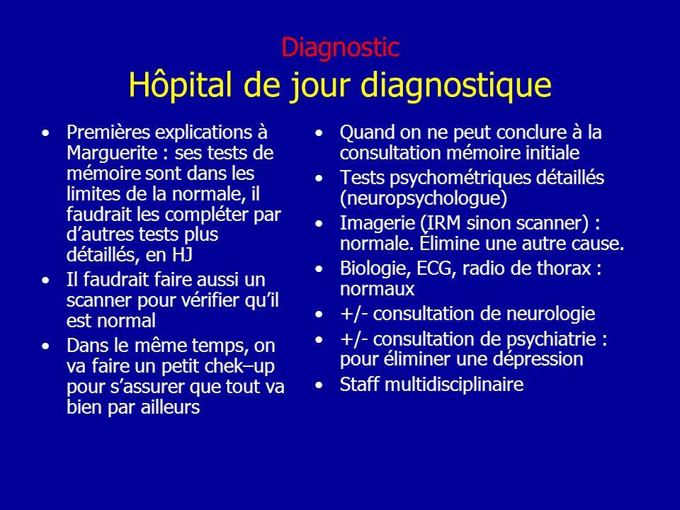 Diagnostic Hôpital de jour diagnostique Premières explications à Marguerite : ses tests de mémoire sont dans les limites de la normale, il faudrait le