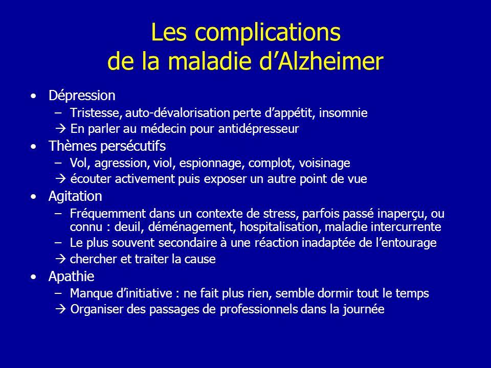 Les complications de la maladie dAlzheimer Dépression –Tristesse, auto-dévalorisation perte dappétit, insomnie En parler au médecin pour antidépresseu