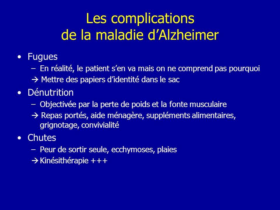 Les complications de la maladie dAlzheimer Fugues –En réalité, le patient sen va mais on ne comprend pas pourquoi Mettre des papiers didentité dans le