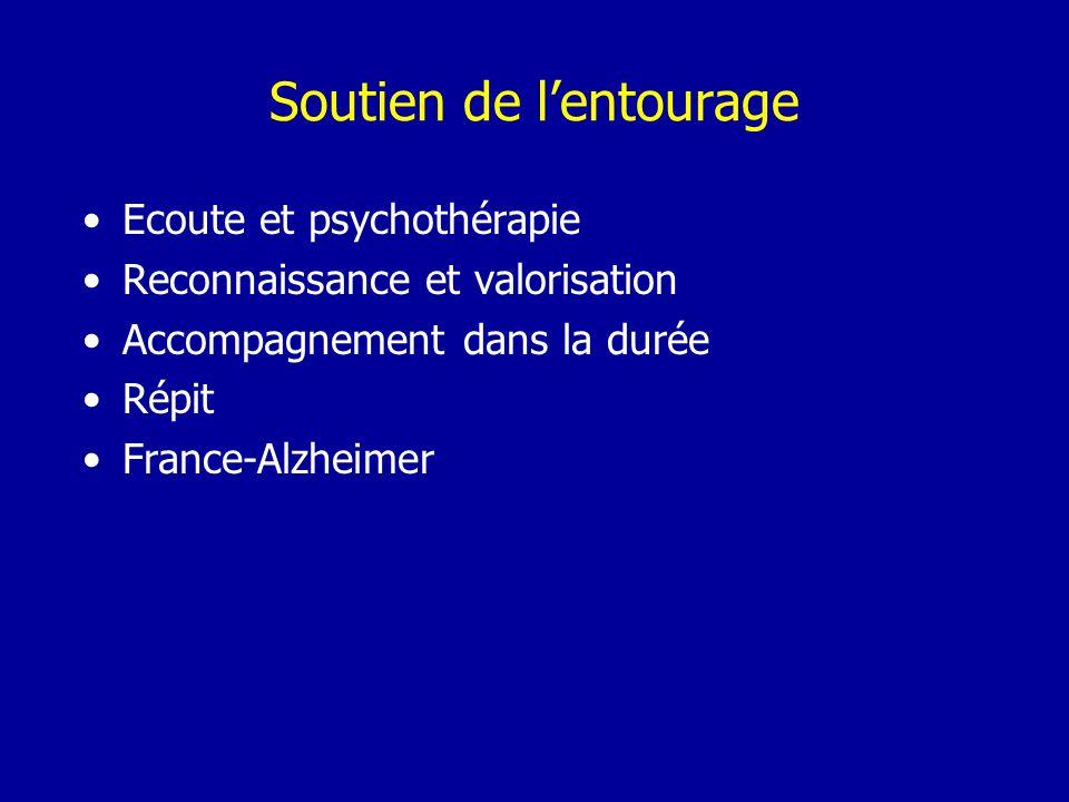 Soutien de lentourage Ecoute et psychothérapie Reconnaissance et valorisation Accompagnement dans la durée Répit France-Alzheimer