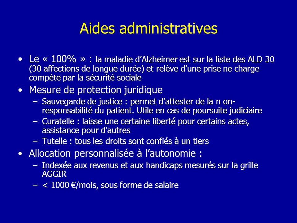 Aides administratives Le « 100% » : la maladie dAlzheimer est sur la liste des ALD 30 (30 affections de longue durée) et relève dune prise ne charge c