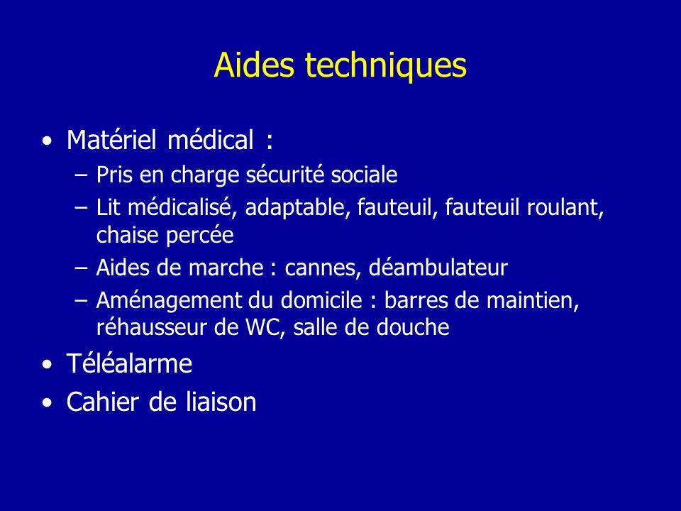 Aides techniques Matériel médical : –Pris en charge sécurité sociale –Lit médicalisé, adaptable, fauteuil, fauteuil roulant, chaise percée –Aides de m