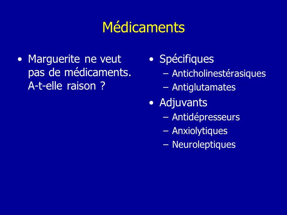Marguerite ne veut pas de médicaments. A-t-elle raison ? Spécifiques –Anticholinestérasiques –Antiglutamates Adjuvants –Antidépresseurs –Anxiolytiques