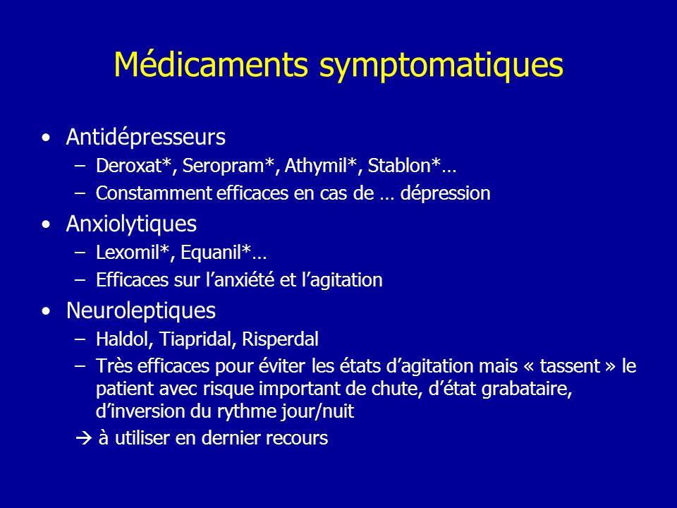 Médicaments symptomatiques Antidépresseurs –Deroxat*, Seropram*, Athymil*, Stablon*… –Constamment efficaces en cas de … dépression Anxiolytiques –Lexo