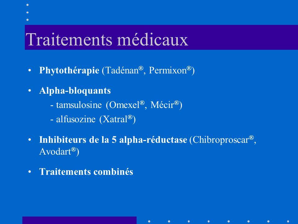 Traitements médicaux Phytothérapie (Tadénan ®, Permixon ® ) Alpha-bloquants - tamsulosine (Omexel ®, Mécir ® ) - alfusozine (Xatral ® ) Inhibiteurs de