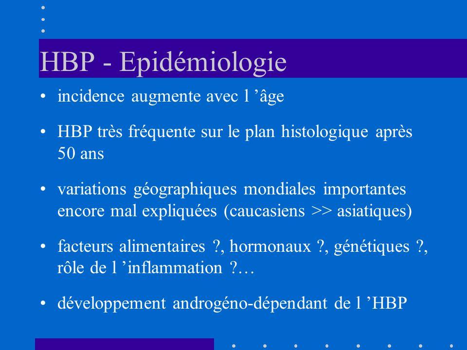 HBP - Epidémiologie incidence augmente avec l âge HBP très fréquente sur le plan histologique après 50 ans variations géographiques mondiales importan