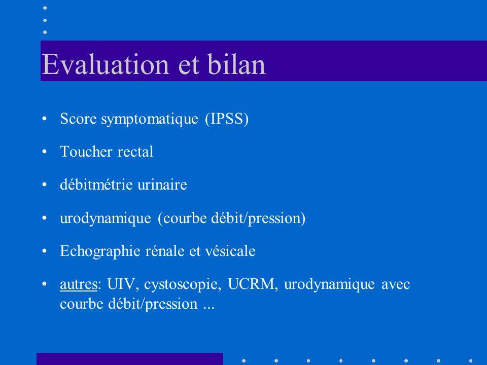 Evaluation et bilan Score symptomatique (IPSS) Toucher rectal débitmétrie urinaire urodynamique (courbe débit/pression) Echographie rénale et vésicale