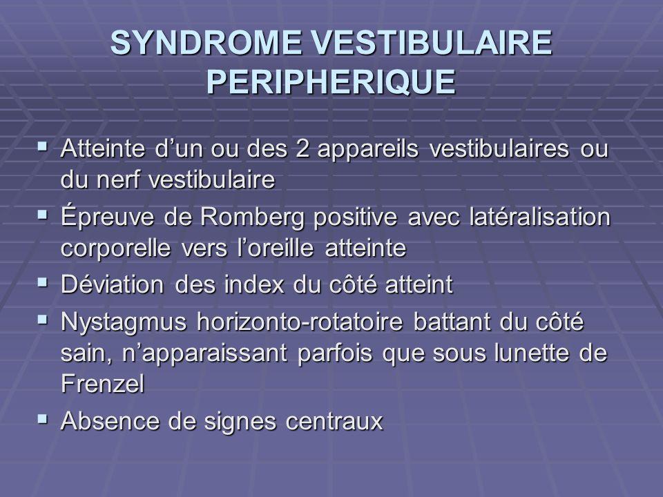 SYNDROME VESTIBULAIRE PERIPHERIQUE Atteinte dun ou des 2 appareils vestibulaires ou du nerf vestibulaire Atteinte dun ou des 2 appareils vestibulaires