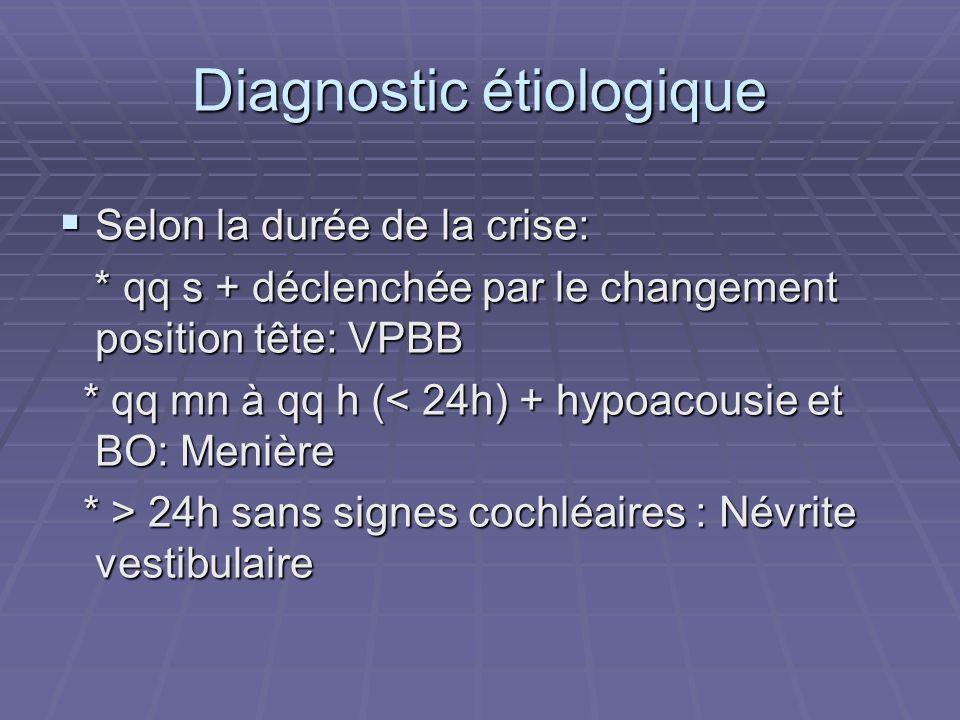 Diagnostic étiologique Selon la durée de la crise: Selon la durée de la crise: * qq s + déclenchée par le changement position tête: VPBB * qq s + décl