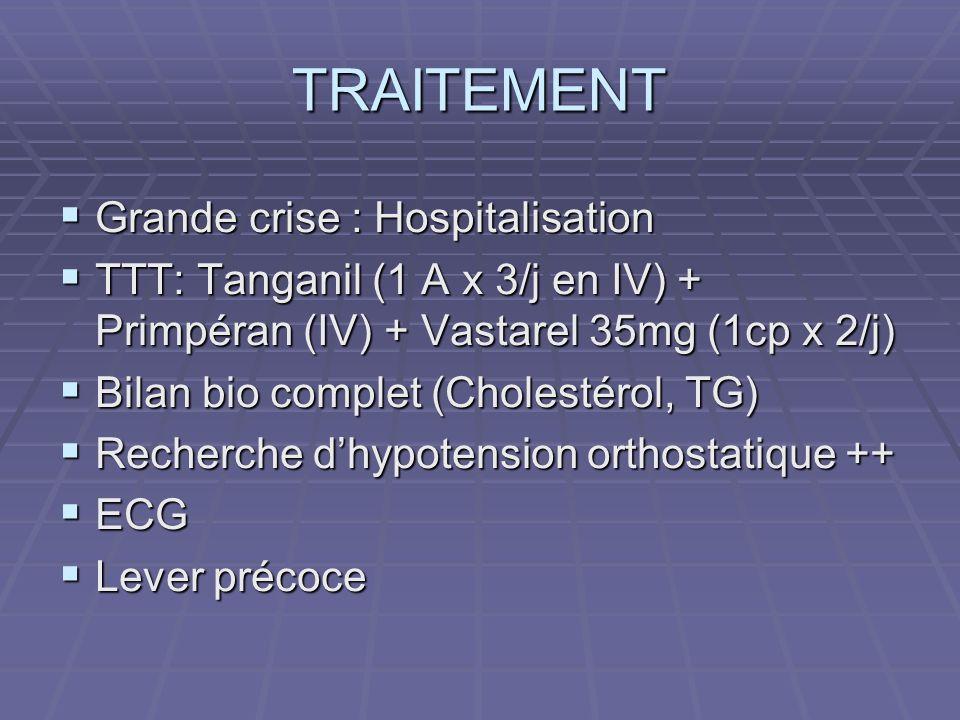 TRAITEMENT Grande crise : Hospitalisation Grande crise : Hospitalisation TTT: Tanganil (1 A x 3/j en IV) + Primpéran (IV) + Vastarel 35mg (1cp x 2/j)
