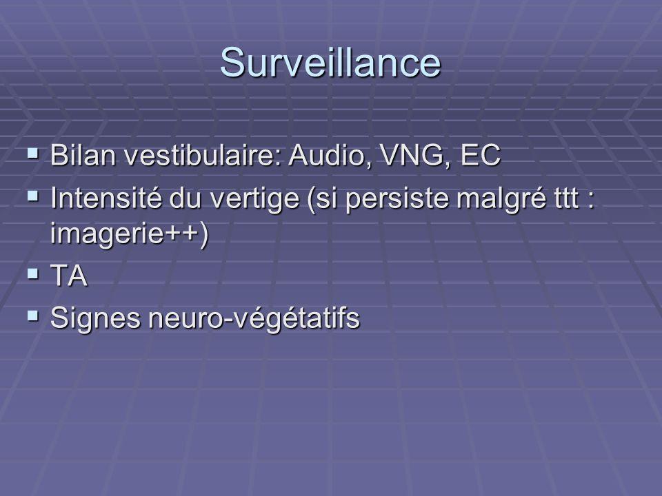 Surveillance Bilan vestibulaire: Audio, VNG, EC Bilan vestibulaire: Audio, VNG, EC Intensité du vertige (si persiste malgré ttt : imagerie++) Intensit