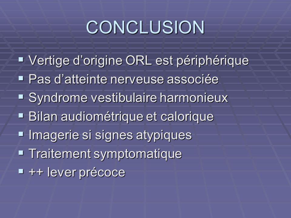 CONCLUSION Vertige dorigine ORL est périphérique Vertige dorigine ORL est périphérique Pas datteinte nerveuse associée Pas datteinte nerveuse associée