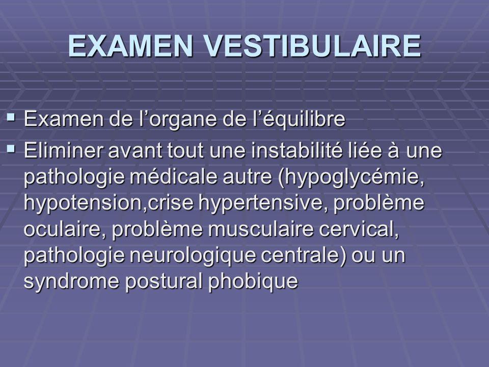 EXAMEN VESTIBULAIRE Examen de lorgane de léquilibre Examen de lorgane de léquilibre Eliminer avant tout une instabilité liée à une pathologie médicale
