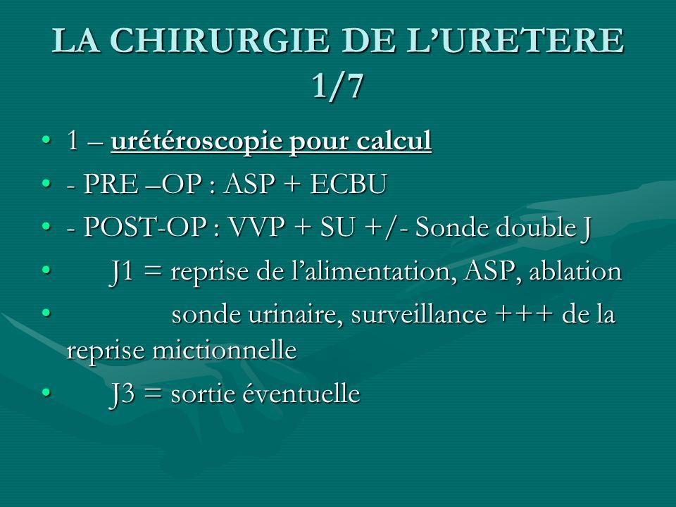 LA CHIRURGIE DE LURETERE 1/7 1 – urétéroscopie pour calcul1 – urétéroscopie pour calcul - PRE –OP : ASP + ECBU- PRE –OP : ASP + ECBU - POST-OP : VVP +