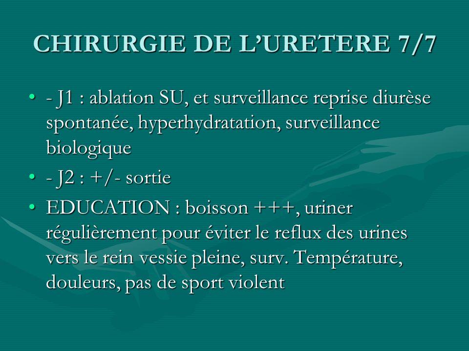 CHIRURGIE DE LURETERE 7/7 - J1 : ablation SU, et surveillance reprise diurèse spontanée, hyperhydratation, surveillance biologique- J1 : ablation SU,