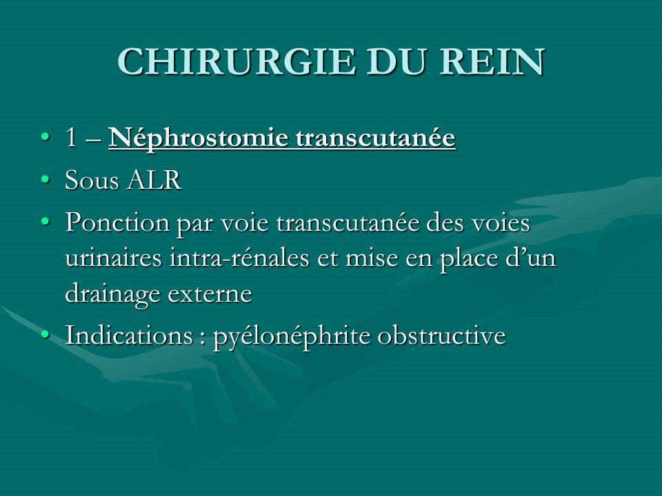 CHIRURGIE DU REIN 1 – Néphrostomie transcutanée1 – Néphrostomie transcutanée Sous ALRSous ALR Ponction par voie transcutanée des voies urinaires intra