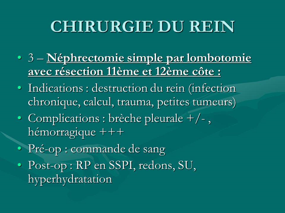 CHIRURGIE DU REIN 3 – Néphrectomie simple par lombotomie avec résection 11ème et 12ème côte :3 – Néphrectomie simple par lombotomie avec résection 11è