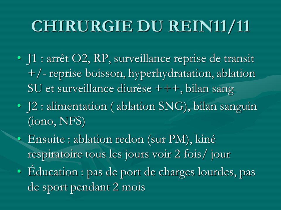 CHIRURGIE DU REIN11/11 J1 : arrêt O2, RP, surveillance reprise de transit +/- reprise boisson, hyperhydratation, ablation SU et surveillance diurèse +