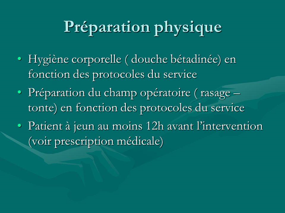 Préparation physique Hygiène corporelle ( douche bétadinée) en fonction des protocoles du serviceHygiène corporelle ( douche bétadinée) en fonction de