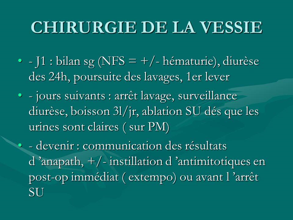 CHIRURGIE DE LA VESSIE - J1 : bilan sg (NFS = +/- hématurie), diurèse des 24h, poursuite des lavages, 1er lever- J1 : bilan sg (NFS = +/- hématurie),