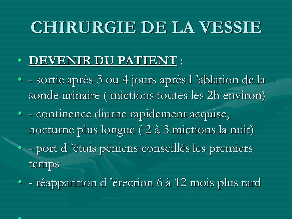 CHIRURGIE DE LA VESSIE DEVENIR DU PATIENT :DEVENIR DU PATIENT : - sortie après 3 ou 4 jours après l ablation de la sonde urinaire ( mictions toutes le