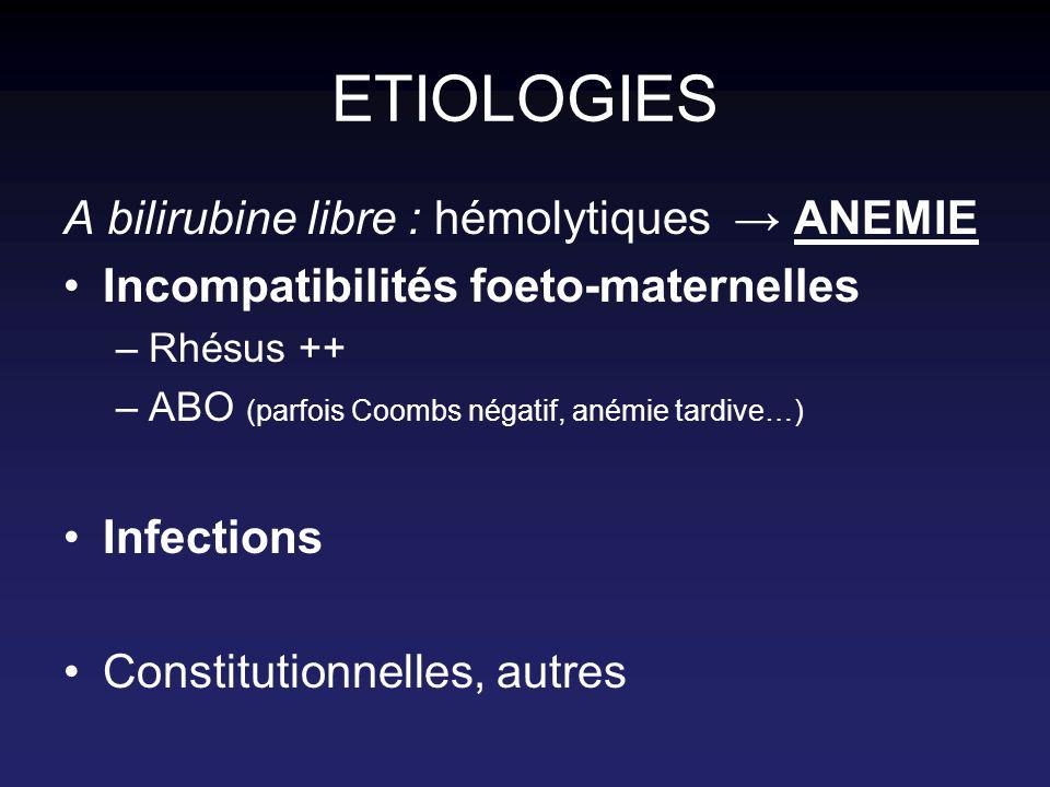 ETIOLOGIES A bilirubine libre : hémolytiques ANEMIE Incompatibilités foeto-maternelles –Rhésus ++ –ABO (parfois Coombs négatif, anémie tardive…) Infec