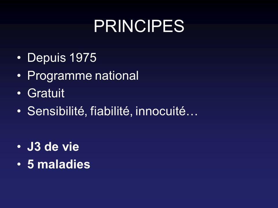 PRINCIPES Depuis 1975 Programme national Gratuit Sensibilité, fiabilité, innocuité… J3 de vie 5 maladies