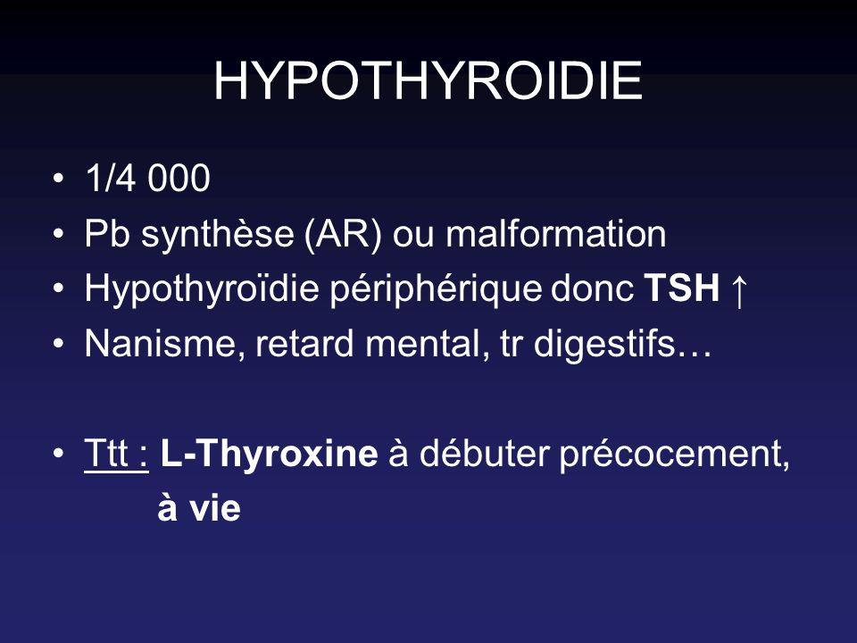 HYPOTHYROIDIE 1/4 000 Pb synthèse (AR) ou malformation Hypothyroïdie périphérique donc TSH Nanisme, retard mental, tr digestifs… Ttt : L-Thyroxine à d
