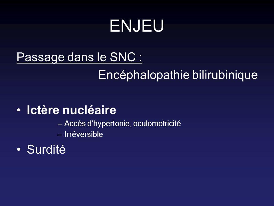 NEUROTOXIQUE PHYSIOLOGIE hémoglobine BILIRUBINE LIBRE 99% : liée à lALBUMINE 1% : BILI NON LIEE (BNL) BILI CONJUGUEE hépatocyte bile dégradation déconjugaison intestin .