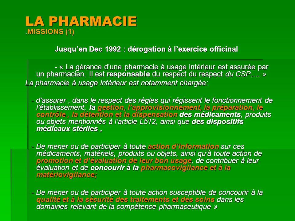 LA PHARMACIE.MISSIONS (1) Jusquen Dec 1992 : dérogation à lexercice officinal - « La gérance dune pharmacie à usage intérieur est assurée par un pharm