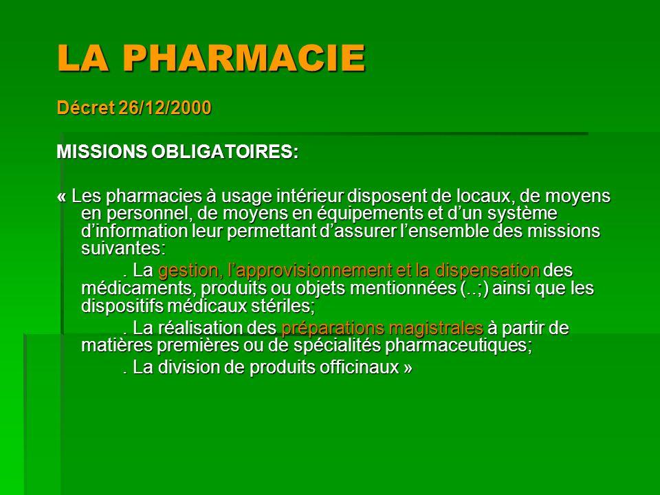 LA PHARMACIE Décret 26/12/2000 MISSIONS OBLIGATOIRES: « Les pharmacies à usage intérieur disposent de locaux, de moyens en personnel, de moyens en équ