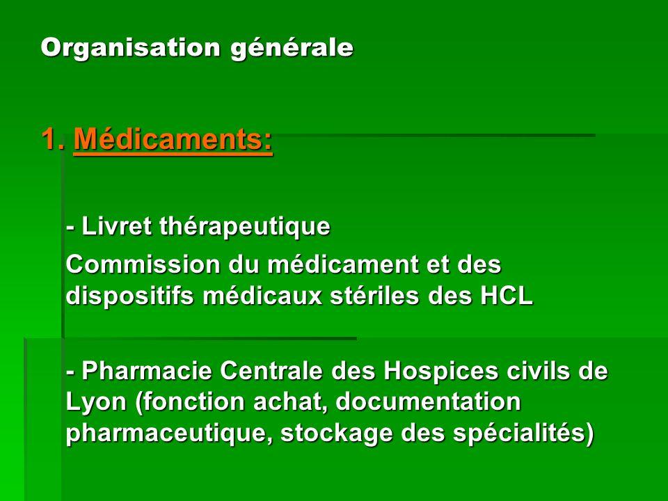 1. Médicaments: - Livret thérapeutique Commission du médicament et des dispositifs médicaux stériles des HCL - Pharmacie Centrale des Hospices civils