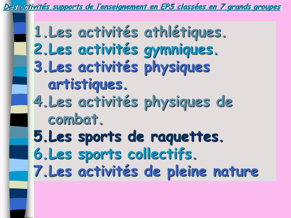 Des activités supports de lenseignement en EPS classées en 7 grands groupes 1.Les activités athlétiques. 2.Les activités gymniques. 3.Les activités ph