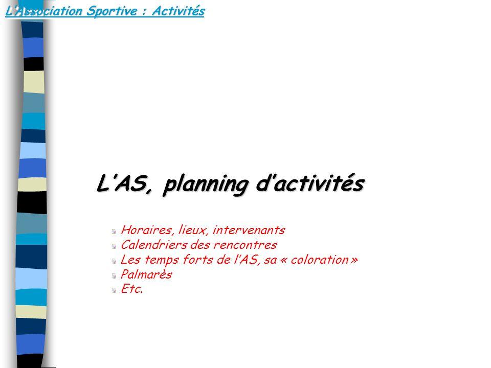 LAssociation Sportive : Activités LAS, planning dactivités LAS, planning dactivités Horaires, lieux, intervenants Calendriers des rencontres Les temps