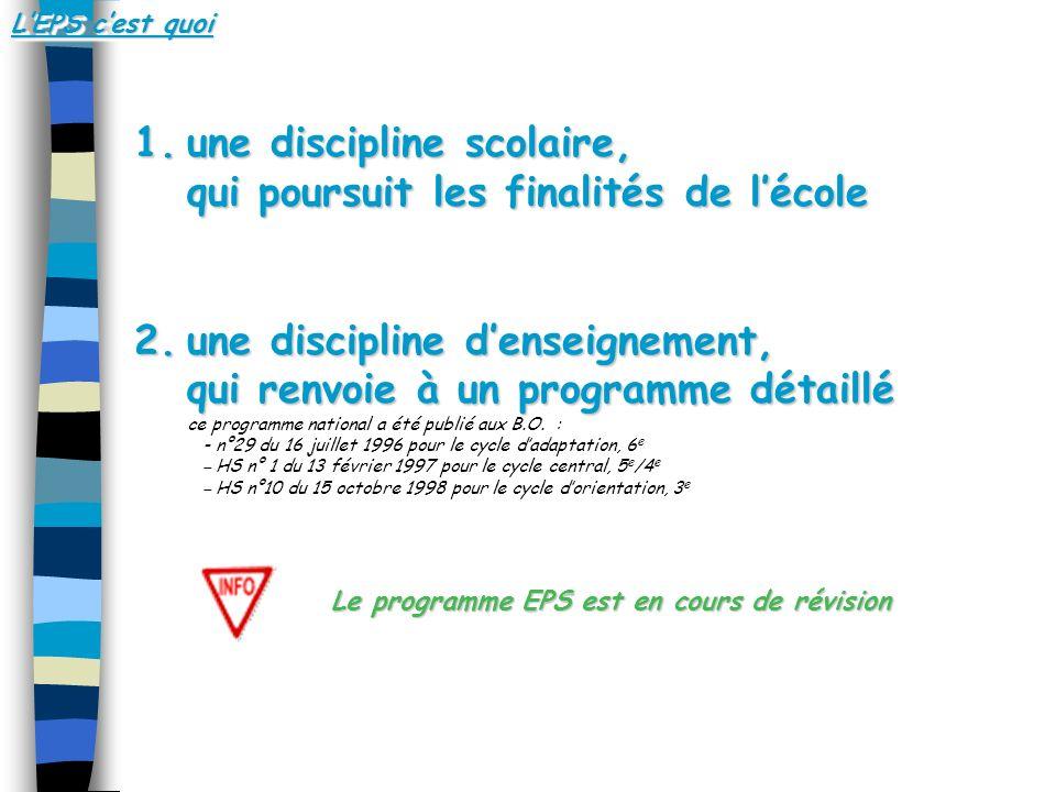 1.une discipline scolaire, qui poursuit les finalités de lécole 2.une discipline denseignement, qui renvoie à un programme détaillé 2.une discipline d
